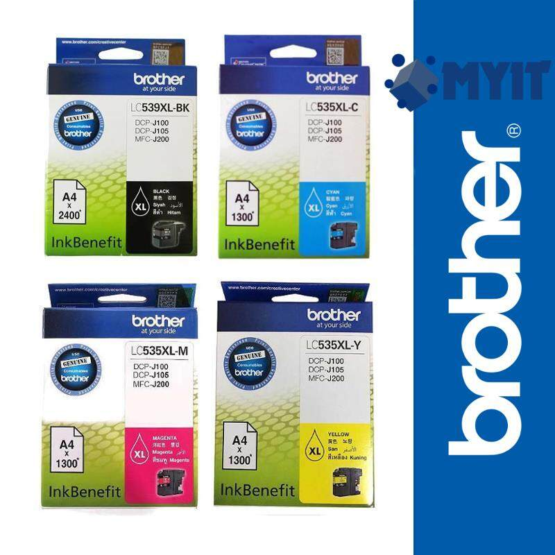 Brother Original LC-535XL LC-539XL Black and Color Ink Full Cartridge Set Bundle for DCP-J100 DCP-J105 MFC-J200 535XL 539XL