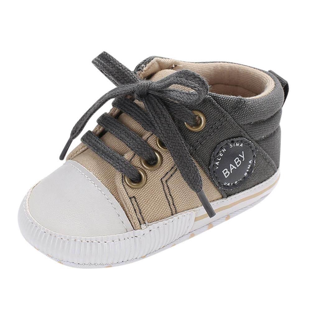 Aynshop Bayi Laki-laki Yang Baru Lahir Perempuan Kanvas Renda Sepatu Tempat  Tidur Batita Lembut 549748670a