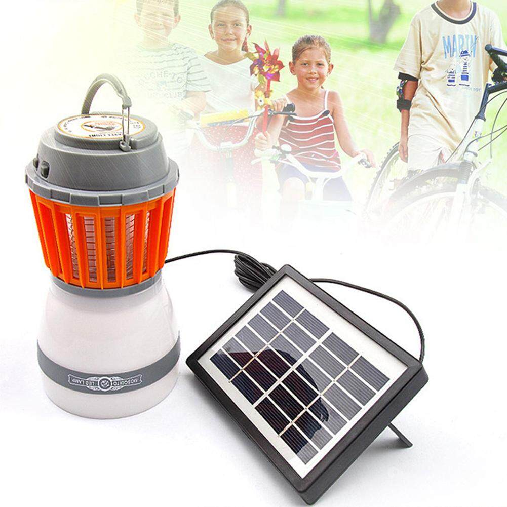 LB Solar Powered USB Charging Waterproof Electric Shock LED Mosquito Killer Lamp Outdoor Mosquito Killer Night Light Decoration