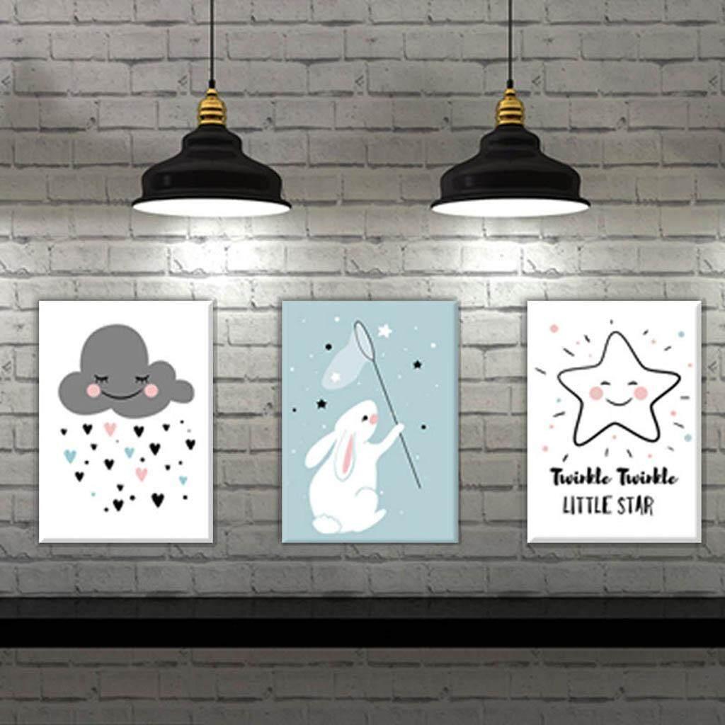BolehDeals 3 Panel Cute Clouds Star Rabbit Canvas Painting Wall Art for Home Decor