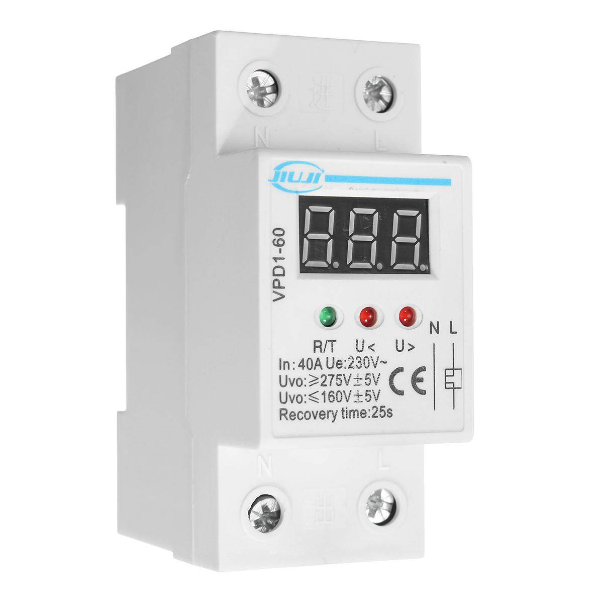 2pcs 40a 220v Automatic Over And Under Voltage Protective Device Relay With Voltmeter - Intl By Elec Mall.