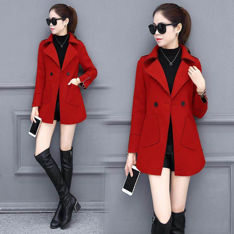 b4878a8f4ff4f Woolen Jacket women Mid-length 2019 Autumn And Winter New Style Short-height  women