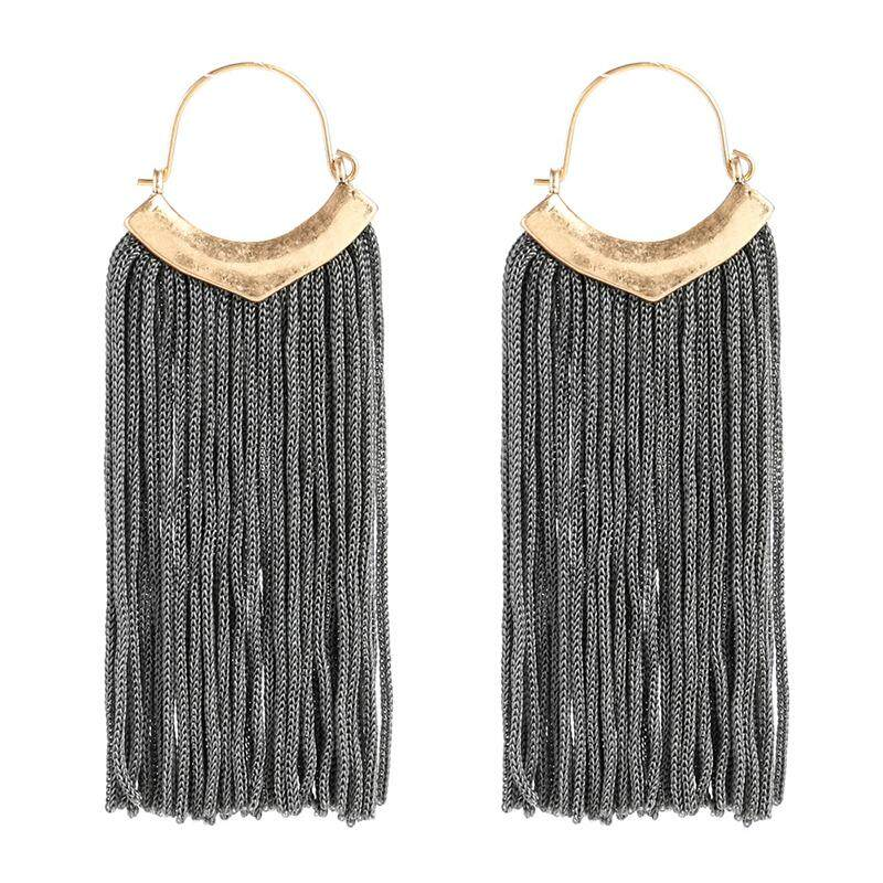 Tassel Earrings Bohemian Handmade Dangle Earing Fashion Jewelry Long Earring For Women Gray By Shakeshake.