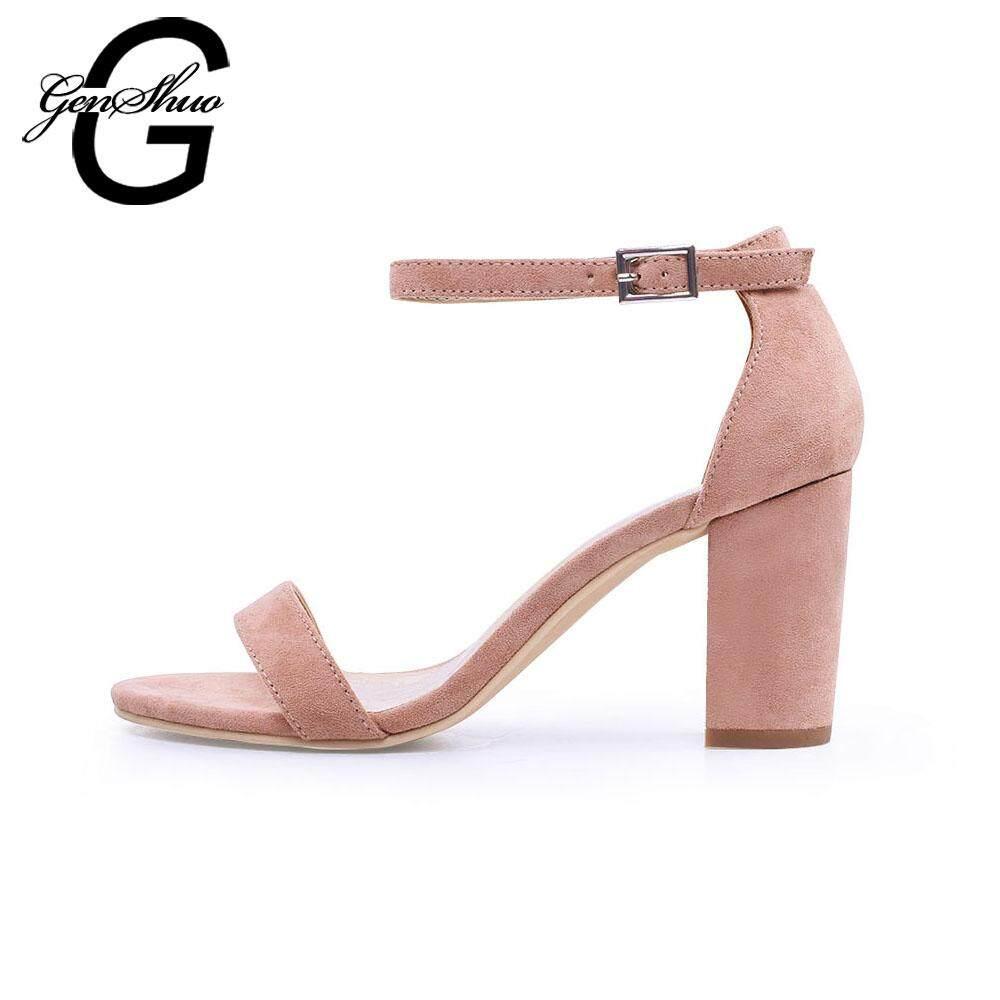 d394e6dc133e Genshuo Ankle Strap Heels Women Sandals Summer Shoes Women Open Toe Chunky High  Heels Party Dress