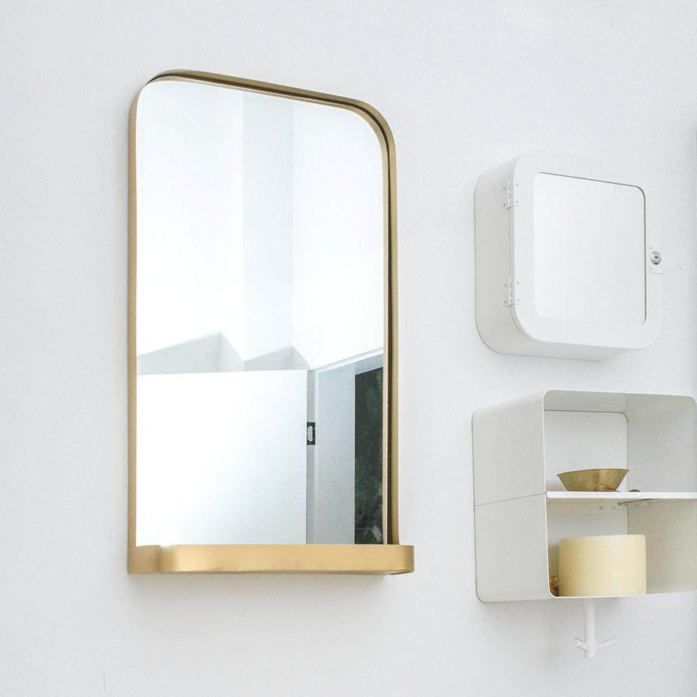 European Modern Minimalist Wall Hanging Mirror Bedroom Dressing Mirror Bathroom Mirror with Shelf - intl