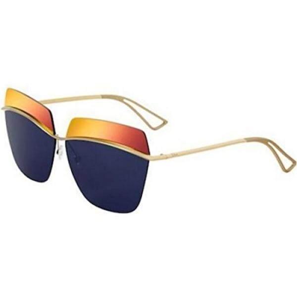 Christian Dior Metalik 000/K0 Emas/Oranye Biru Cermin Kacamata Hitam-Internasional