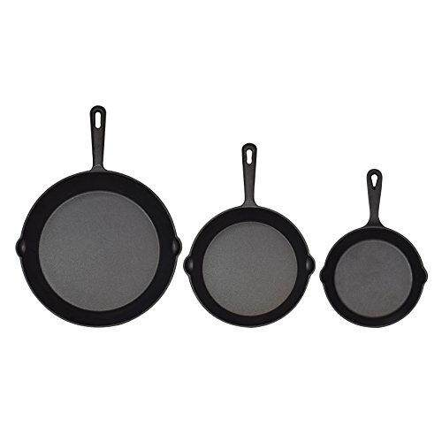 Jim Beam Set of 3 Pre Seasoned Cast Iron Skillets with Even Heat  Distribution and Heat 487338c4b