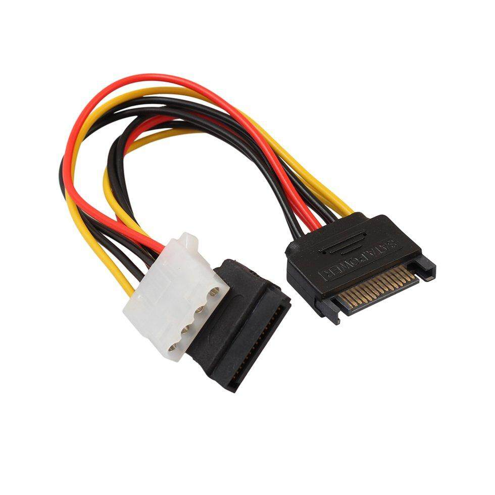 GOFT 15 Pin SATA Male To 4Pin IDE Molex Female + SATA Female Power Cable Cord 18AWG multicolor