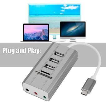 ราคาดีที่สุด All in One External Audio Sound Card HUB Card Reader Adapter Audio Interface (Type-C Grey) ล่าสุด