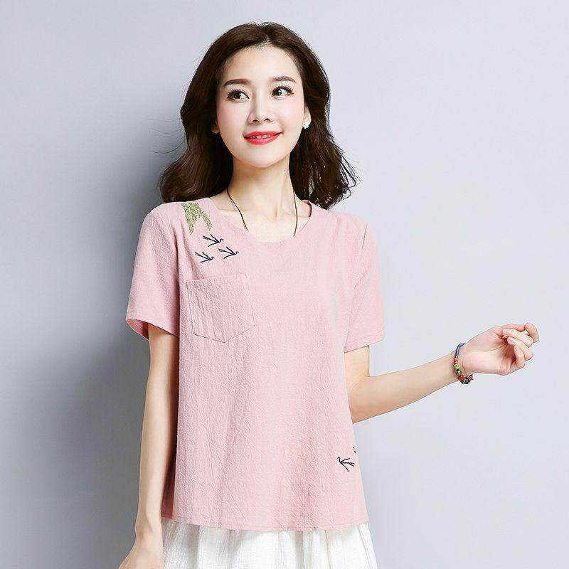 43b2cebf67f1 COCOEPPS 2019 Summer New Cotton Linen Breathable Loose Korea Style Plus size  Short sleeve Women s T
