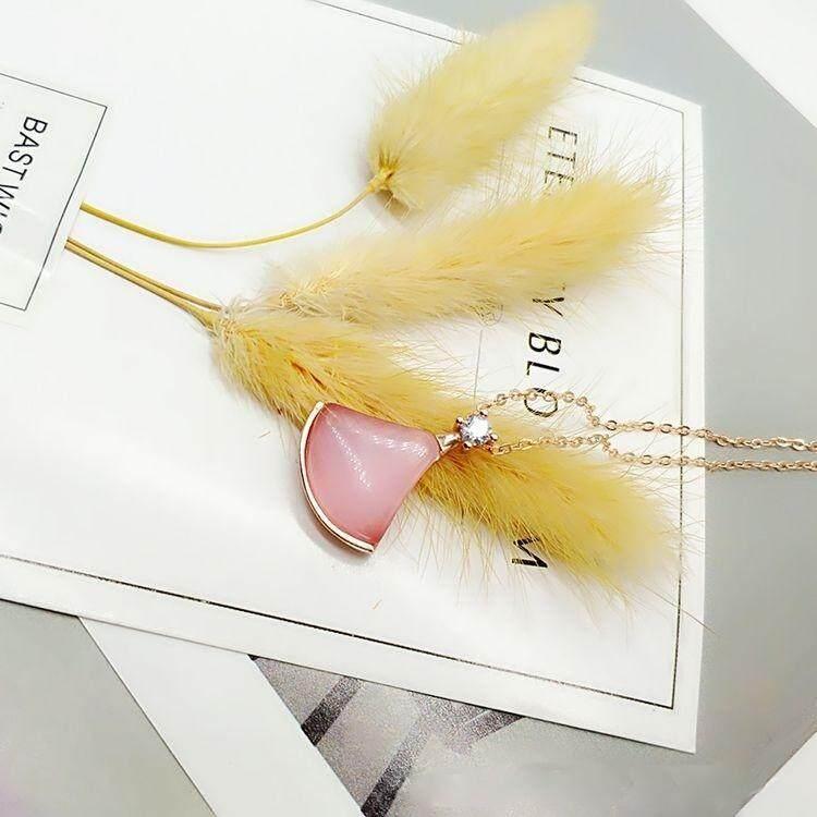 【Opal berlian merah muda】berbentuk kipas rok kalung S925 rok perak kecil kecil rantai