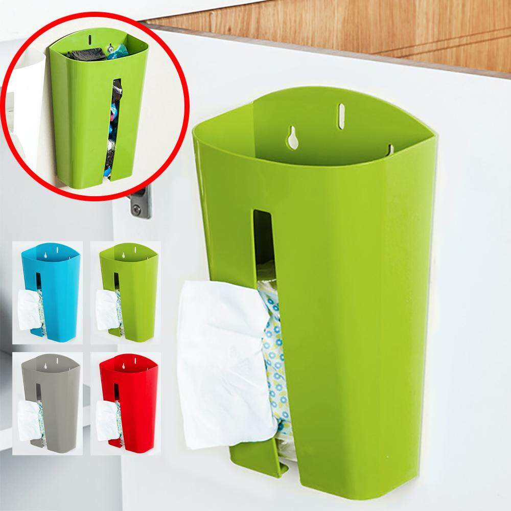 BIGSPOON Wall Mounted Grocery Bag Holder Plastic Bags Dispenser Tissue Box Storage Organizer Box (Green)
