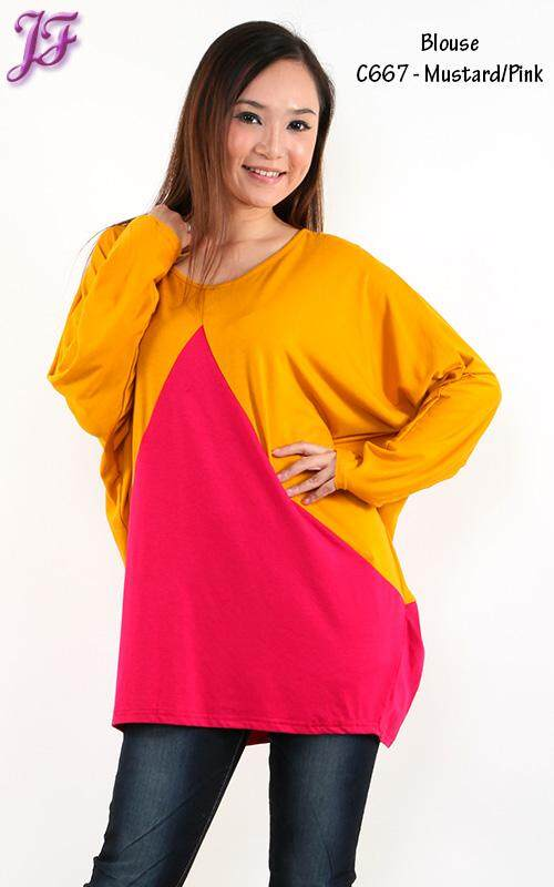JF Fashion Color Block Cotton Blouse C667