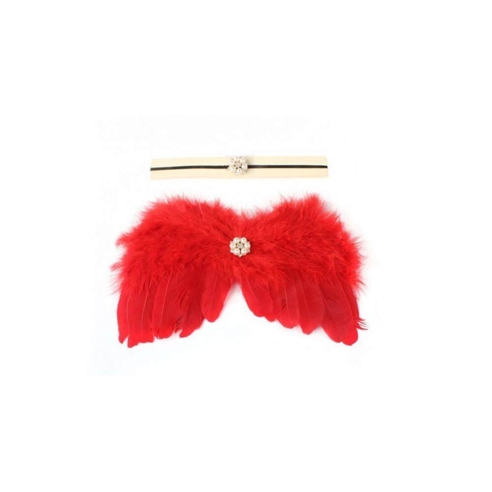 Newborn Baby Photo Cute Angel Wing + Elastic Headband Set Infant Photography Prop Outfit (Red