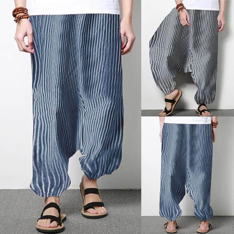 Incerun Celana Panjang Ukuran Besar Pria Elastis Bergaris Longgar DROP Selangkangan Kasual Celana .