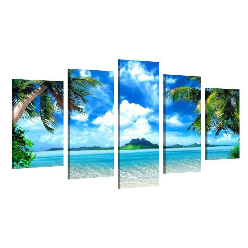 Large Canvas Print Wall Art (5 pcs) Beach Landscape Canvas Picture Stretched On A Wooden Frame - Giclee Canvas Printing - Hanging Wall Deco Picture