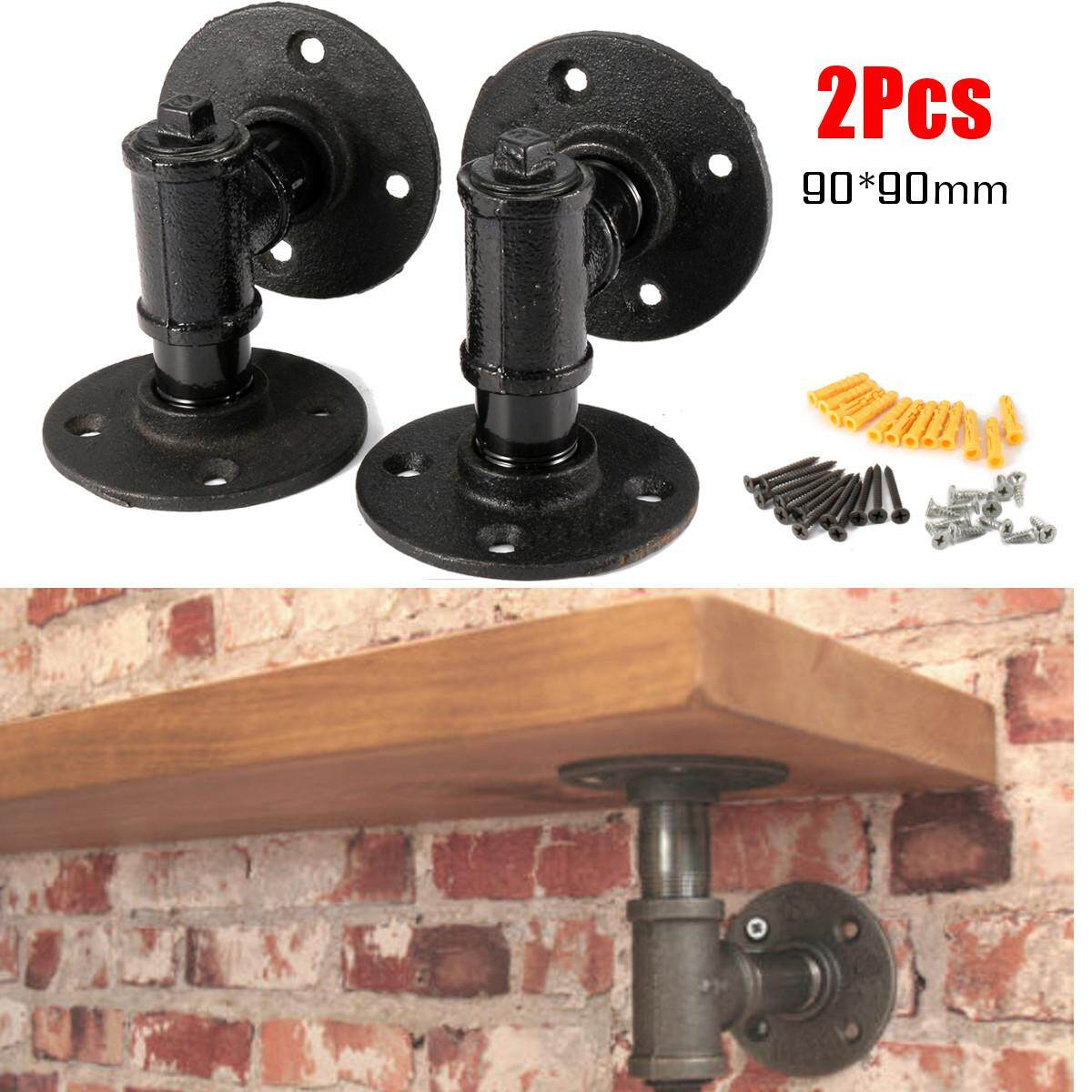 2x Retro Industrial Iron 3/4 Pipe Shelf Bracket Holder With Screws DIY Decor