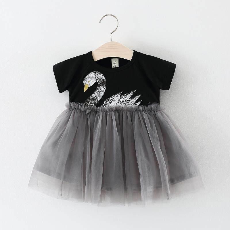 RHS Online Baby Girl Short Sleeved Cotton Swan Princess Skirt Dress - intl