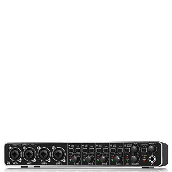 BEHRINGER UMC 404HD Audiophile 4X4 24-Bit/192 KHz USB Audio/Midi Interface with Midas Mic Preamplifiers Black / From USA - intl