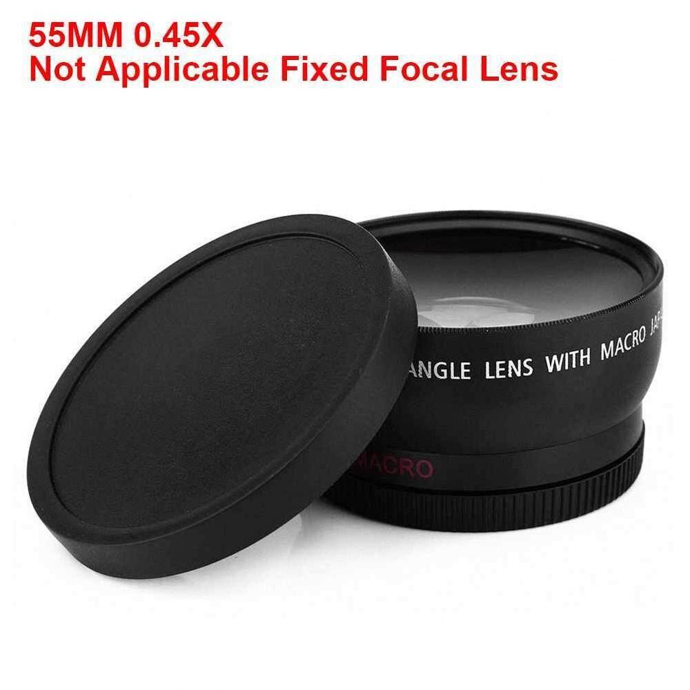 Yuchen Baru 2-In-1 55 Mm 0.45X Makro Sudut Lebar Lensa Kamera dengan Dua Cap untuk Canon Nikon Kamera Sony dengan Lensa melindungi