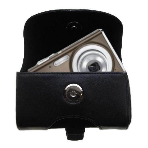Gomadic Merek Horizontal Hitam Koper Kulit UNTUK Olympus FE-4020 Kamera Digital dengan Terintegrasi Loop Sabuk dan Opsional Klip Sabuk