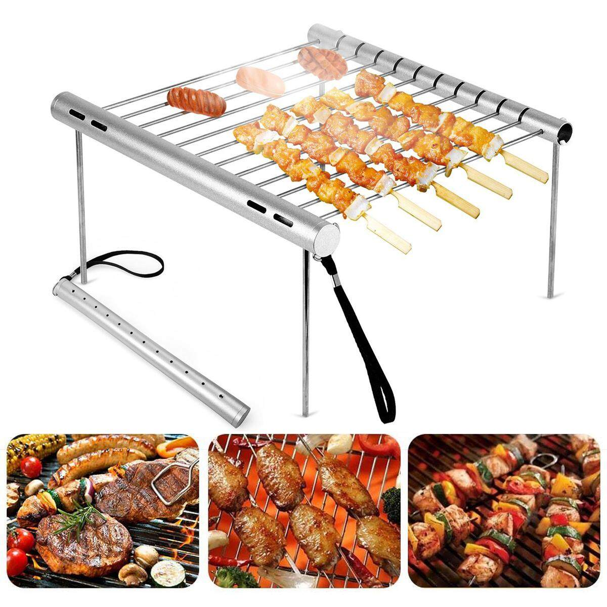 Luar Ruangan Portabel Lipat Baja Anti Karat Panggangan Barbecue Piknik Bbq Alat Kemah-Intl By Threegold.