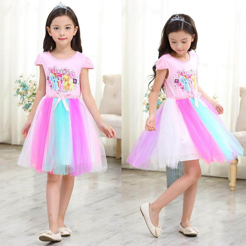 0375188da33ed China. [Ready Stock] Kid Girls Ponys Dress Colorful Mesh T-shirt Skirt Cute  Cartoon