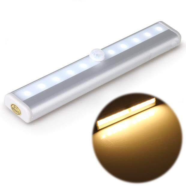 Bigskyie Stiker Kreasi-Di Mana Saja 10 LED Wireless Merasakan Gerakan Kabinet LED Lampu Malam Ye-Intl
