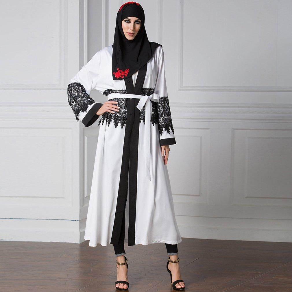 Wanita mode longgar renda penyambungan Dres Patchwork Muslim Abaya