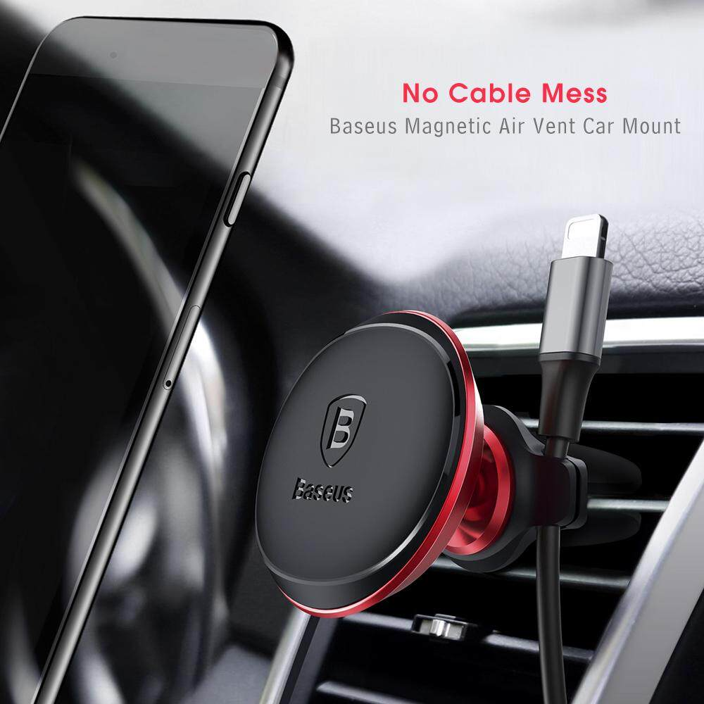 Baseus Air Vent Magnetic Suction Bracket Phone Holder 360 Degree Rotation Car Mount with Cable Clip