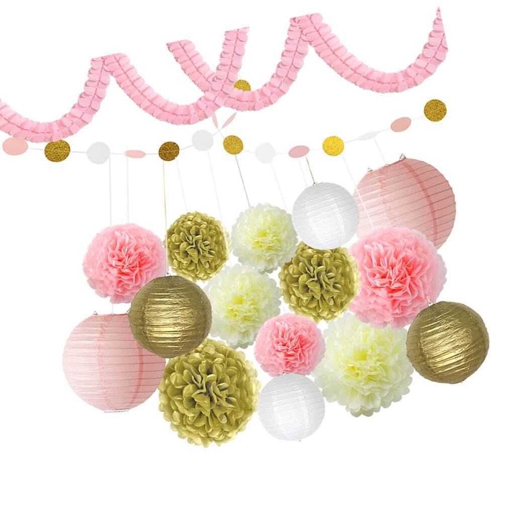 BolehDeals Paper Tissue Flowers Hanging Lanterns Polka Dot Bunting Party Decoration Kit