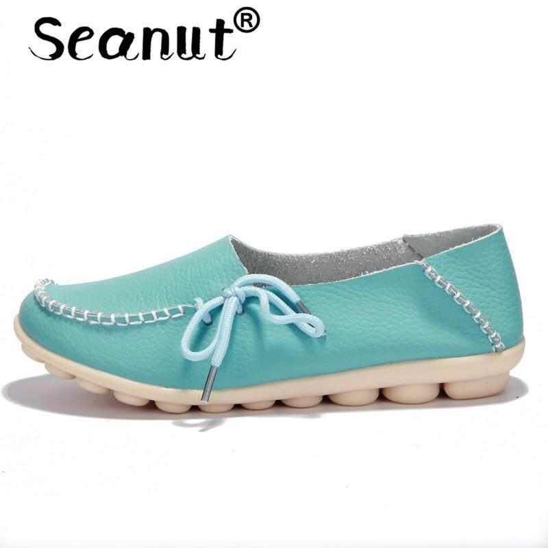 Seanut Women Leather Slip On Loafers With Platform Women Flats Loafer Casual Summer Sandals Women Dress