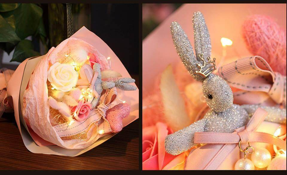 Wishing Rabbit Soap Rose With LED Bouquet