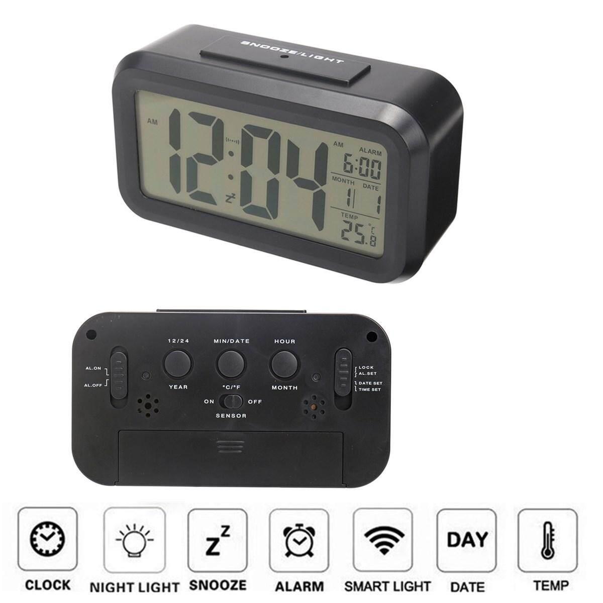 Baterai Baru Digital Jam Alarm dengan Layar LCD Kalender Lampu Latar Tunda AU # Hitam