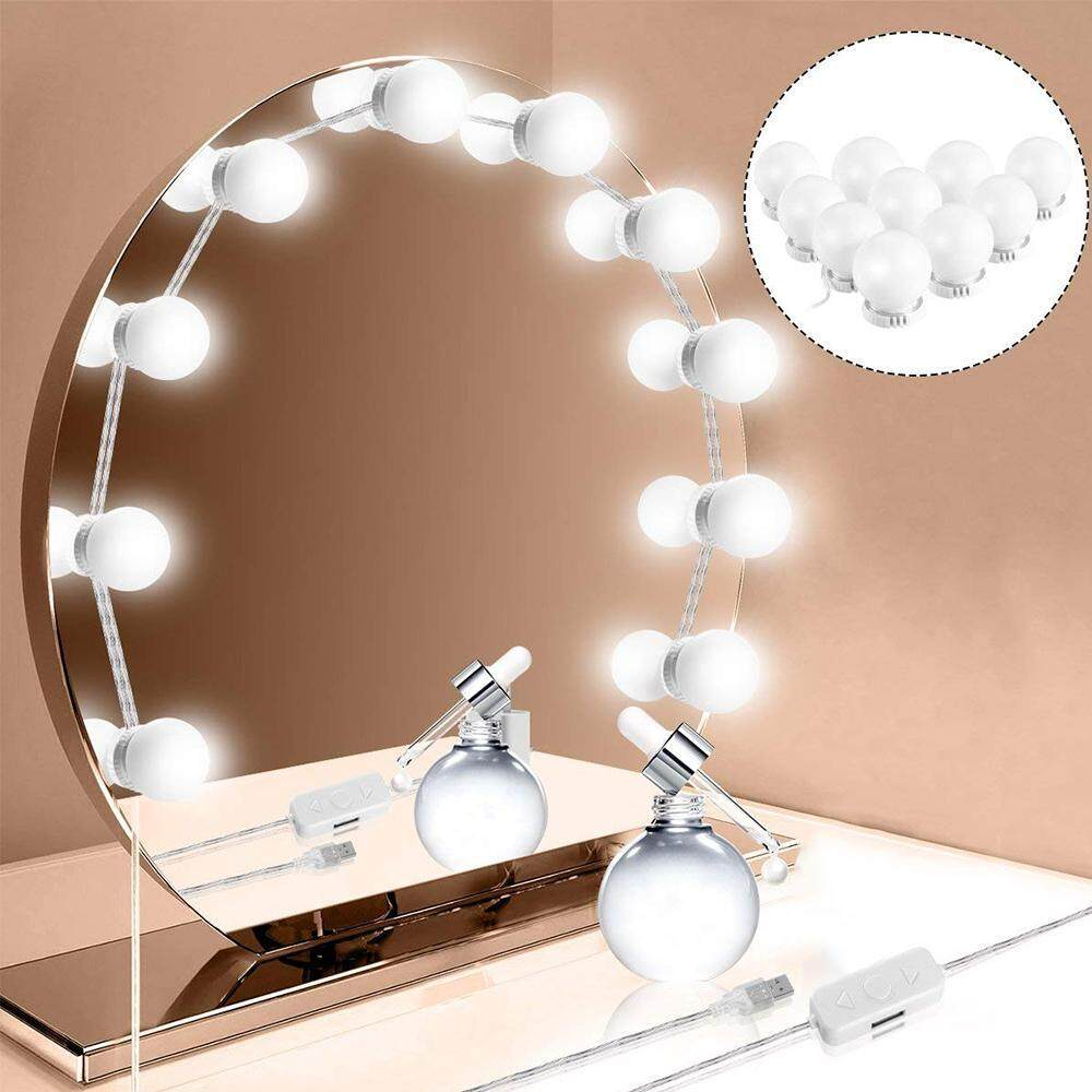WithRitty 10 Hollywood Style LED Vanity Mirror Lights Kit with Dimmable Light Bulbs DIY String Lights for Makeup Vanity Table Set in Dressing Room(Mirror Not Included) Philippines