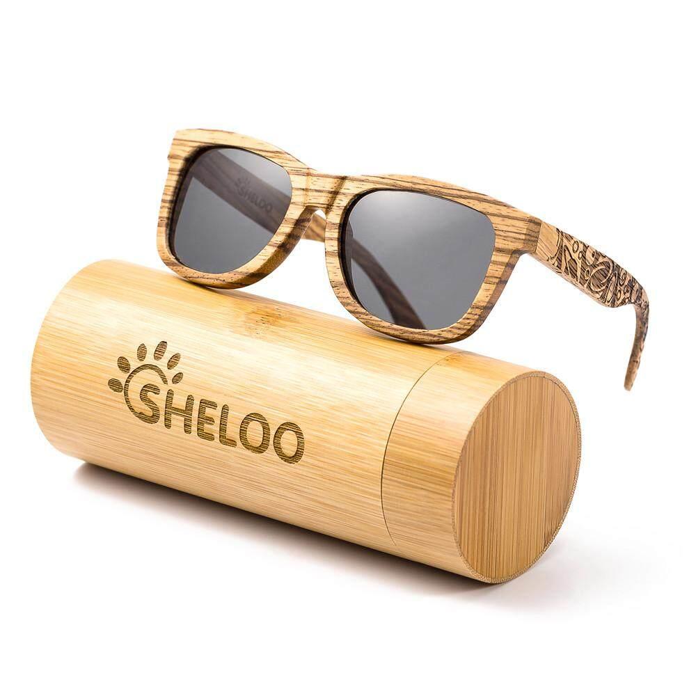 Sheloo Kacamata Kayu Buatan Tangan dari Kayu Zebra 100% UV400 Lensa Terpolarisasi