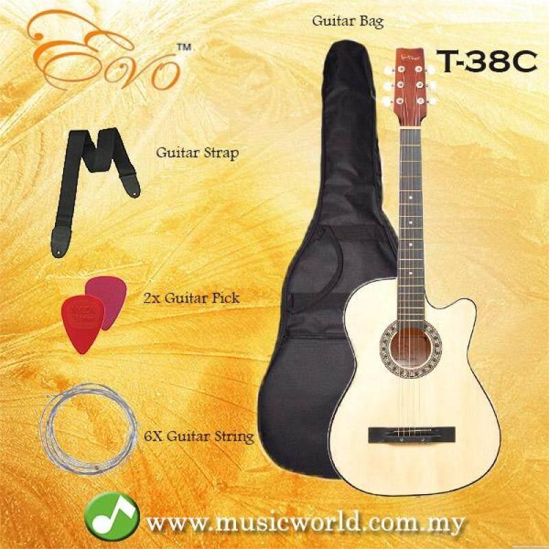 EVO T-38C Natural Acoustic Guitar 38 Inch Beginner Guitar Student Guitar Free Bag String Pick Strap Malaysia