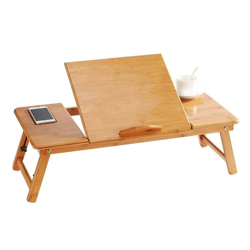 BURLING 100% Portable Bamboo Laptop Stand Foldable Desk Notebook Table Laptop Bed Tray Bed Table, Flower Style design, play games on bed Table with Drawer (flat-27.5in) - intl