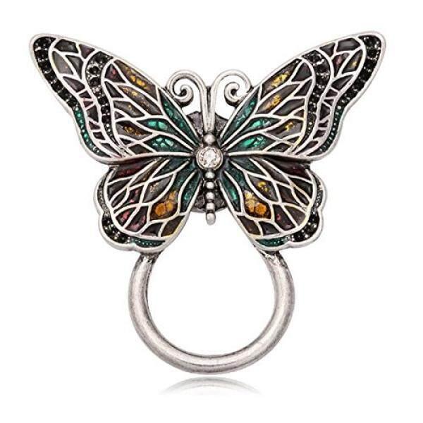 Chuangyun Perak Antik Sayap Berwarna-warni Kupu-kupu Kuat Magnetik Klasik Bros Bros Hewan Perhiasan Pajangan Kacamata-Intl