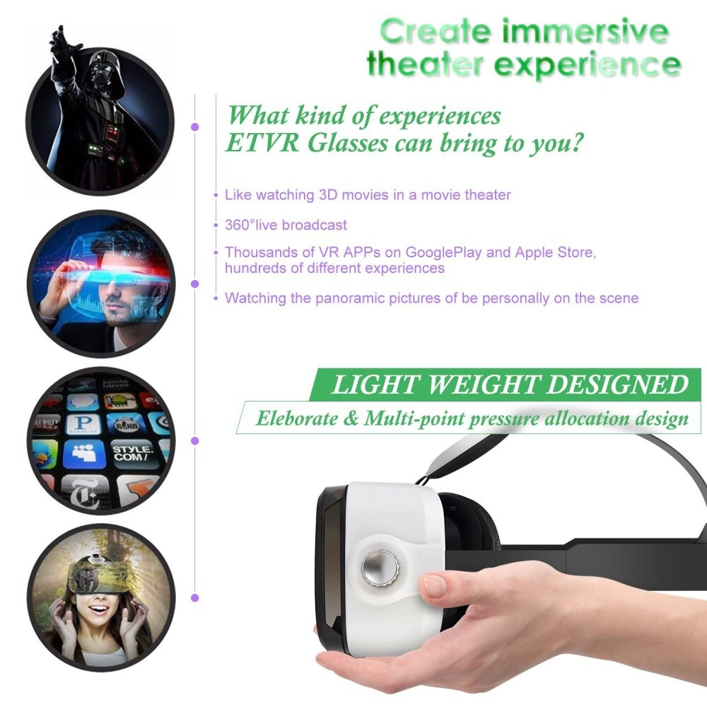 44362db90de Wholesale ETVR 3D Upgraded VR Virtual Reality Headsets With ...