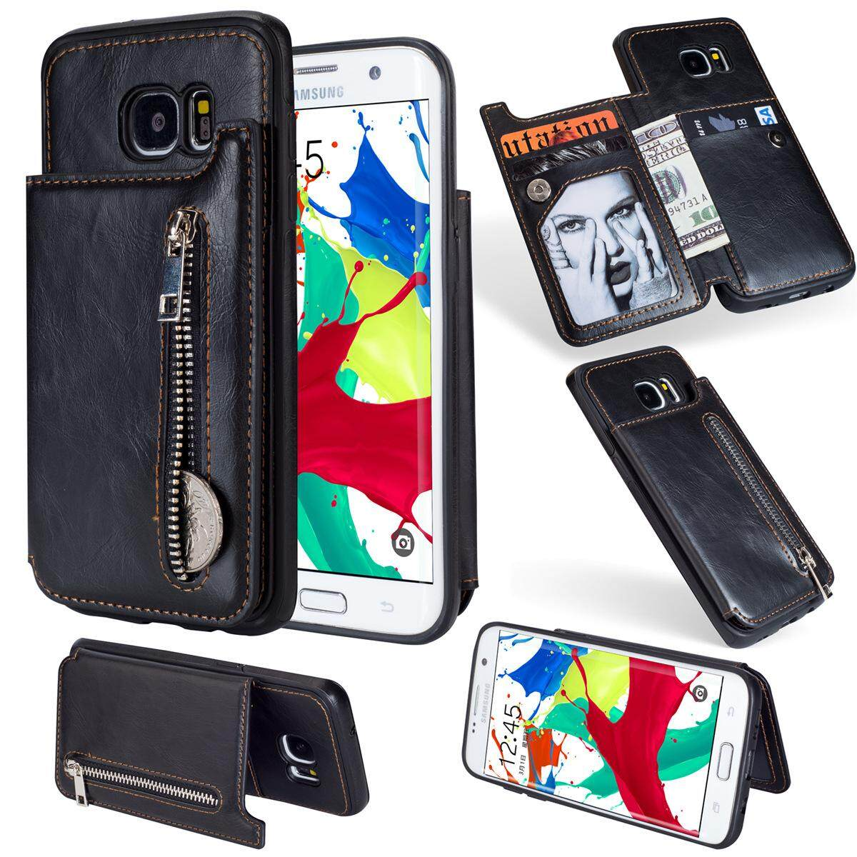 for Samsung Galaxy S7 Edge Leather Case [4in1 Multifunctional] Vintage Leather Pattern Magnetic Fol