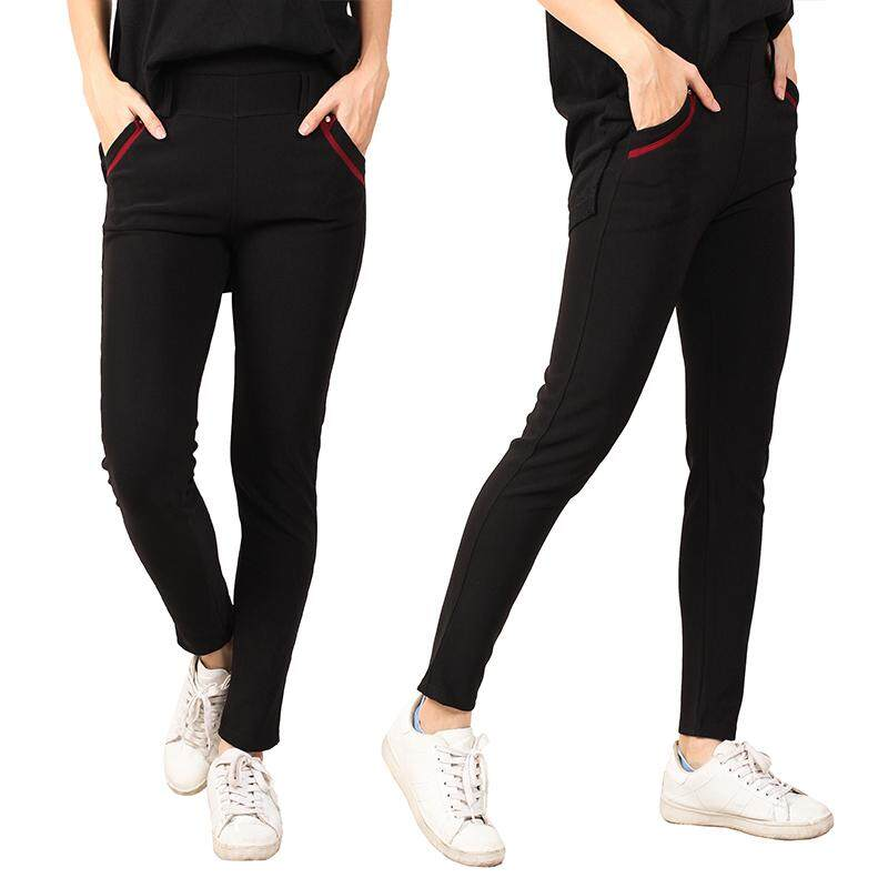 KM Black Elastic Trousers [M12275]