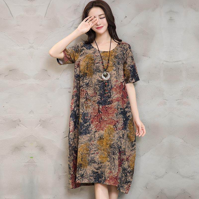 1c805b83ce024 VONDA Summer Women Vintage Floral Print Casual Loose Short Sleeve Maternity  Dress