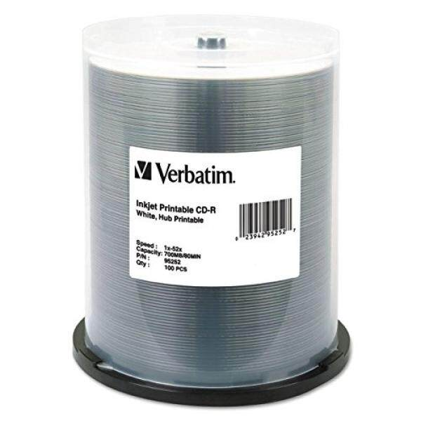 Blank Media Verbatim CD-R 700MB 52X White Inkjet Hub Printable Recordable Media Disc - 100pk Spindle - intl