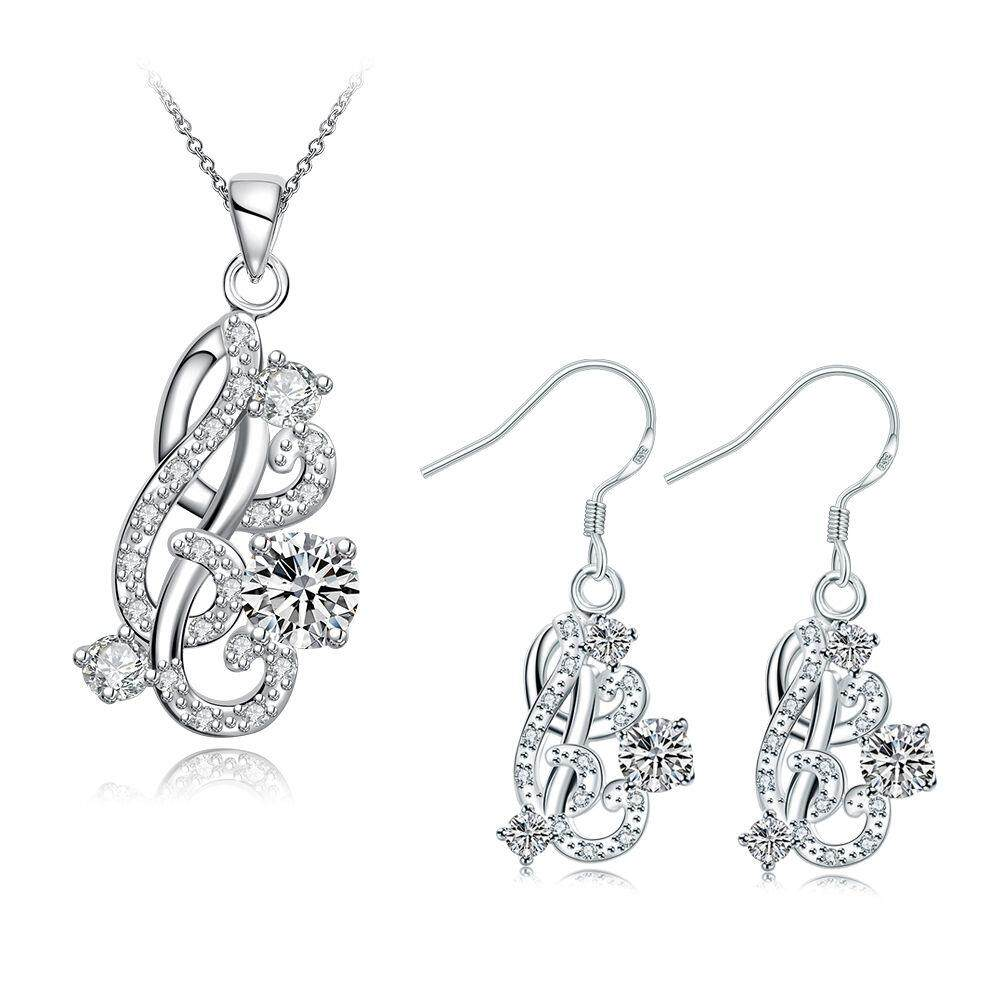 Free Shipping New Women Fashion popular 925 silver plated jewelry sets for sale (White)
