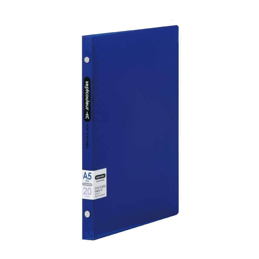 SEPT COULEUR A5, 20 Holes, 60 Sheets, 15 Spine Width - Dark Blue