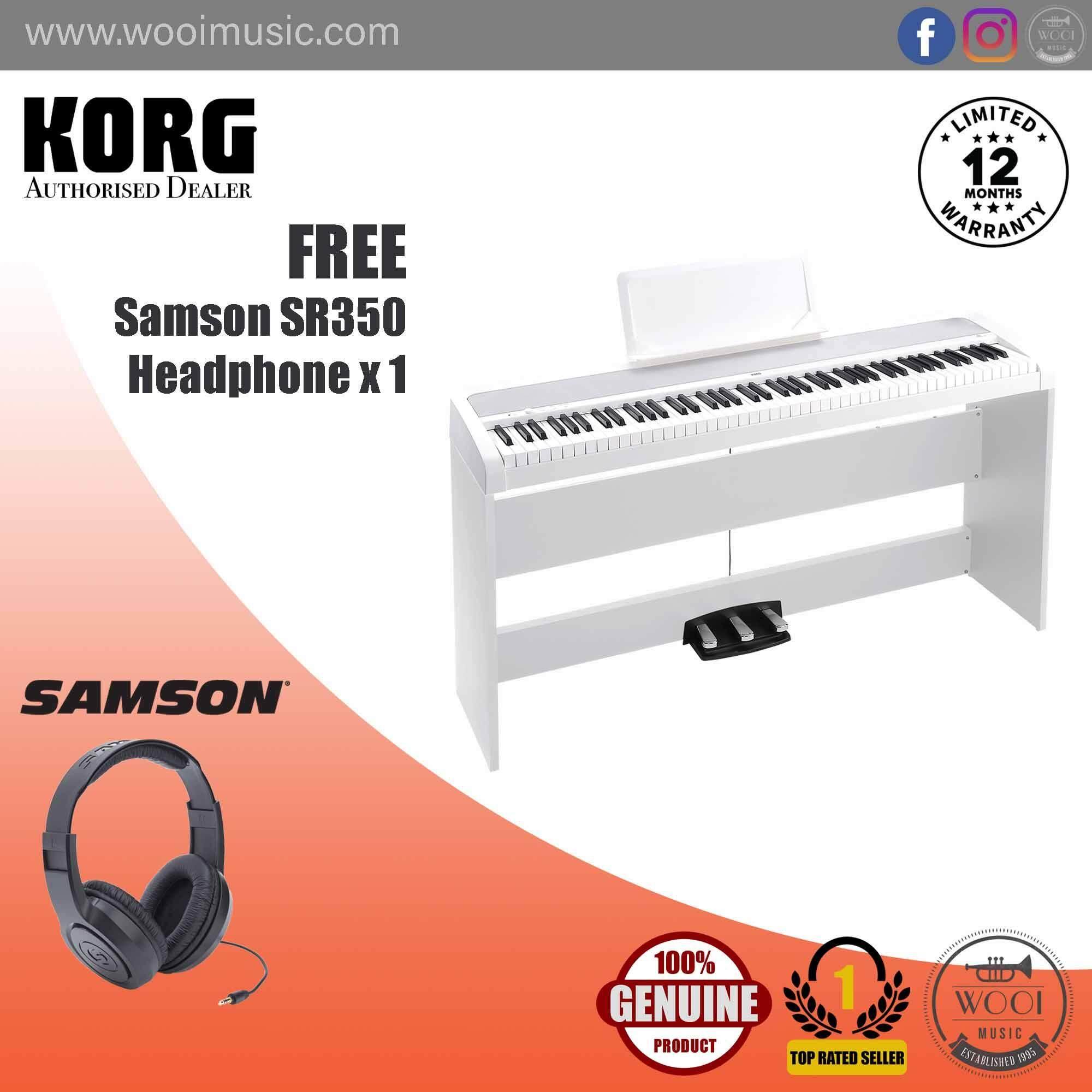 Korg B1SP-WH Digital Piano White (88Key) with Stand & 3 Pedal Unit (FREE Samson SR350 Headphone)