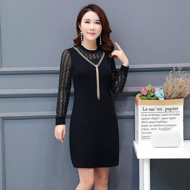 2018 busana musim gugur model baru Gaya Korea setangah baya Busana Ibu Kain jaring renda Lengan