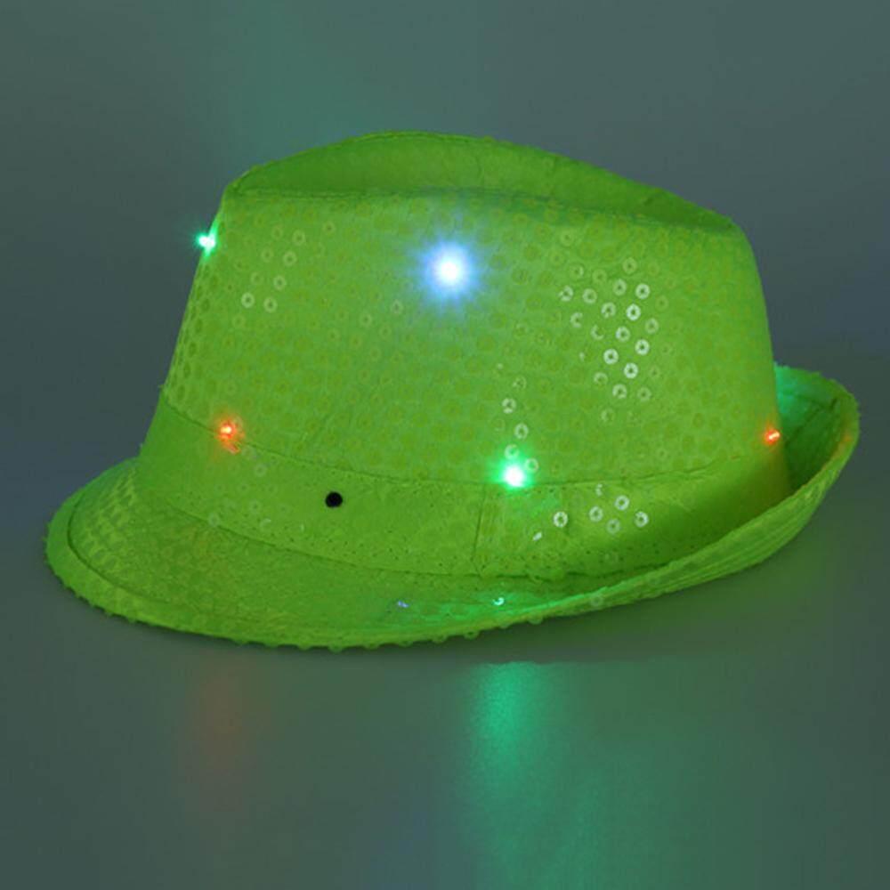 Betes Christmas Party Jazz Hat Decoration Flashing Hats Light Up LED Fedora  Trilby Sequin Caps Glow 788545dfa353