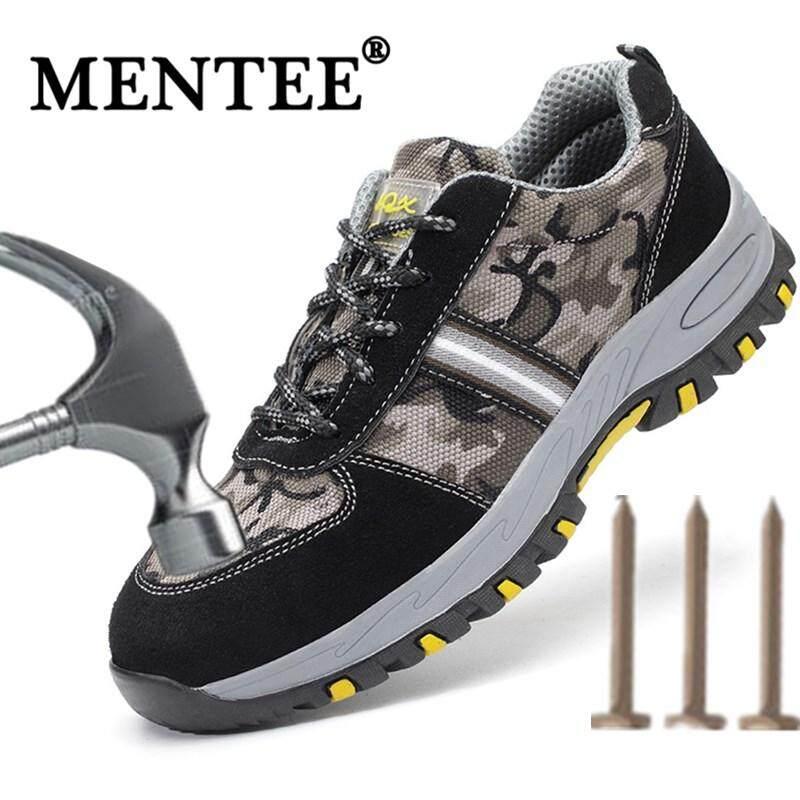 Mentee Ukuran Plus 37-46 Sepatu Keselamatan Pria Anti-Smashing Menusuk Sepatu Kerja Sepatu
